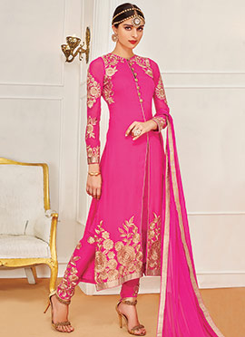 Embroidered Pink Georgette Straight Pant Suit