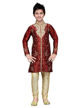Embroidered Maroon Art Silk Boys Kurta Pyjama