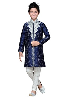 Embroidered Navy Blue Art Silk Boys Kurta Pyjama