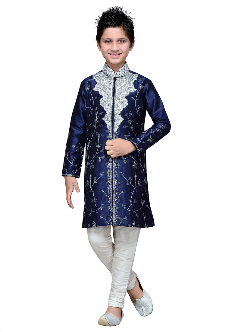 Buy Embroidered Navy Blue Art Silk Boys Kurta Pyjama
