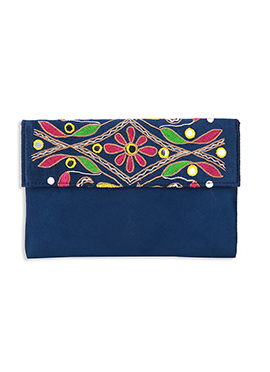 Embroidered Navy Blue Suede Clutch