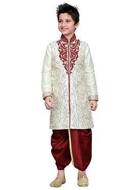 Embroidered Off White Art Silk Boys Dhoti Kurta