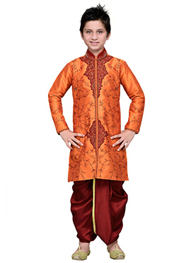 Embroidered Orange Art Silk Boys Dhoti Kurta
