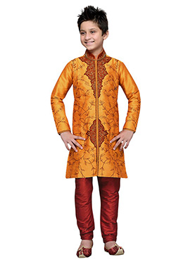 Embroidered Orange Art Silk Boys Kurta Pyjama