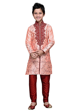 Embroidered Peach Art Silk Boys Kurta Pyjama