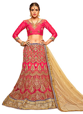 Embroidered Pink N Beige A Line Lehenga Choli