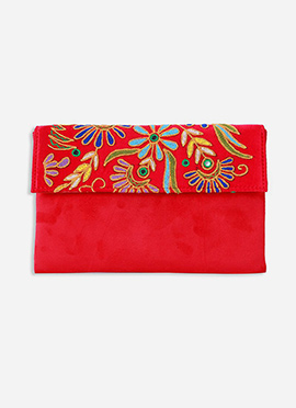 Embroidered Red Suede Clutch