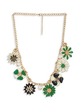 Enamel Work Beautified Floral Design Necklace