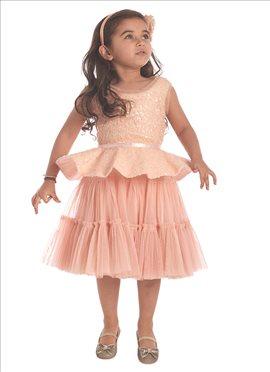 English Rose Net Kids Peplum Dress