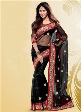 Enthralling Black Embroidered Net Saree