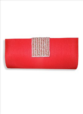 Enthralling Red Art Dupion Silk Clutch
