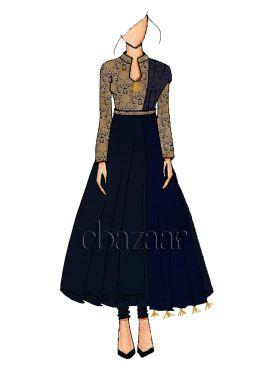 Ethnic Navy Blue Anarkali suit