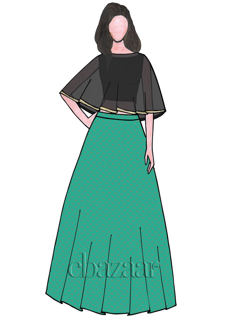961d9f80f Buy EthnoVogue Custom Made Crop Top N Skirt With Cape, Festive ...