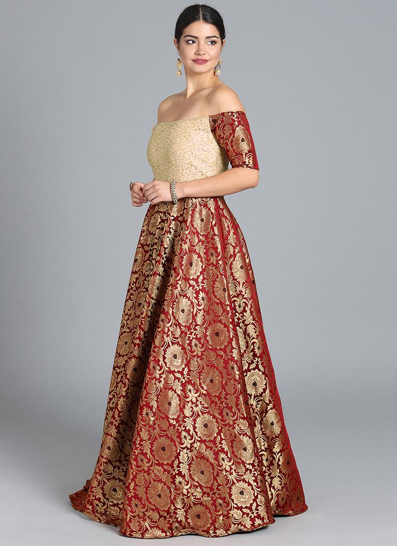 d1b7b1b06416 Buy EthnoVogue Custom Made Off Shoulder Maroon Gown