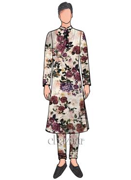 EthnoVogue Custom Made Printed Kurta Pyjama Set doodle Premium 48bb46396