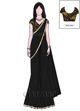 503c780c0a EthnoVogue Customised Embroidered Black Saree Premium