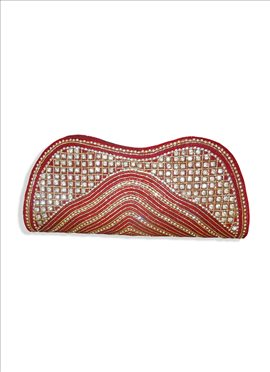 Extravagant Red Beaded Art Dupion Silk Clutch