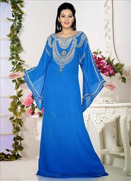 Exuberant Blue Georgette Fustan