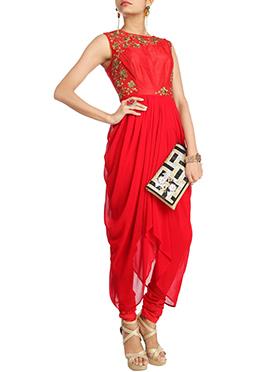 Exuberant Red Georgette Churidar Suit