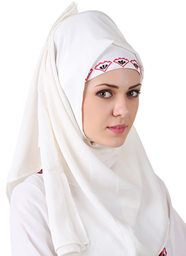 Ezzah White Georgette and Crepe Hijab