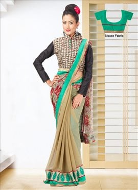 Fab Chiffon N Georgette Double Blouse Saree