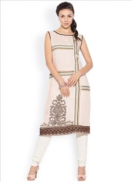 Fab Off White Cotton Printed Plus Size Kurti