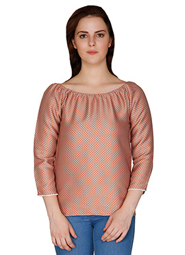 Famous By Payal Kapoor Beige N Orange Poly Satin Top