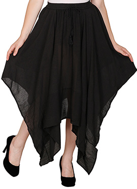 Famous By Payal Kapoor Black Asymmetrical Skirt