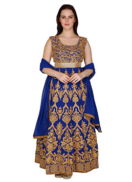 Famous By Payal Kapoor Blue Ankle Length Anarkali Suit