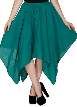 Famous By Payal Kapoor Dark Green Asymmetrical Skirt