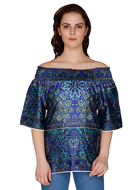 Famous By Payal Kapoor Indigo Blue Silk Blend Top