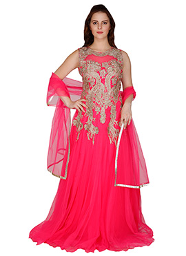 Famous By Payal Kapoor Magenta Floor Length Anarkali