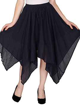 Famous By Payal Kapoor Navy Blue Asymmetrical Skirt