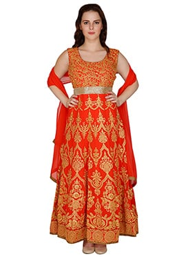 Famous By Payal Kapoor Orange Ankle Length Anarkali