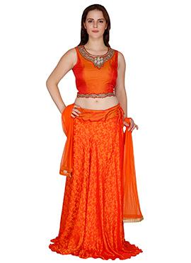 Famous By Payal Kapoor Orange Crepe A Line Lehenga