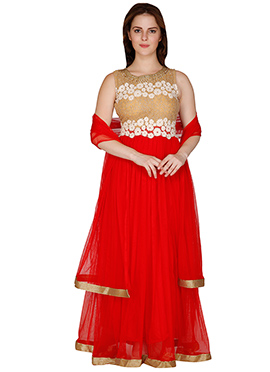 Famous By Payal Kapoor Red N Beige Anarkali Suit