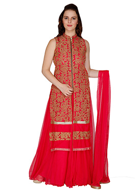 Famous By Payal Kapoor Reddish Pink Palazzo Suit
