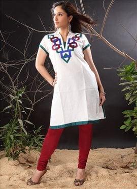 Fancy Appliqued Off White Cotton Churidar Set