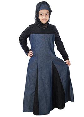 Farizah Blue N Black Denim Kids Abaya