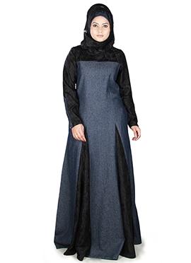 Farizah Denim Black N Bluish Grey Abaya