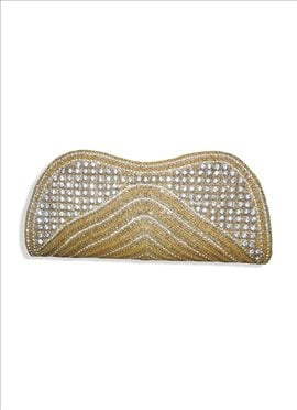 Fascinating Gold Beaded Art Dupion Silk Clutch