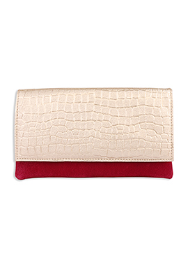 Faux Leather Red N Cream Clutch