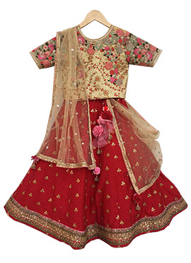 Fayon Beige N Red Chanderi Silk Lehenga