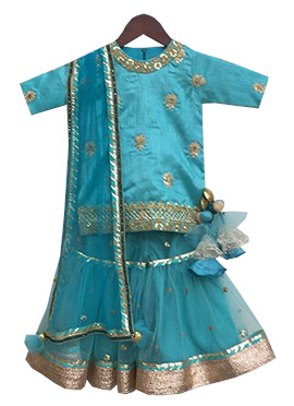Fayon Blue Art Silk Net Sharara Suit