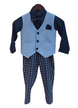 Fayon Blue Cotton Kids Suit