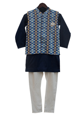 Fayon Blue N Black Cotton Silk Kids Bandi Set
