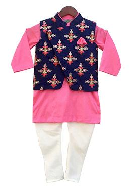 Fayon Blue N Pink Cotton Silk Kids Bandi Set