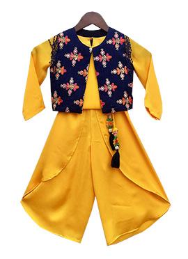 Fayon Blue N Yellow Georgette Kids Dhoti Set