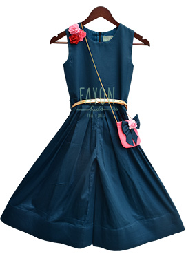 Fayon Blue Plain Kids Dress