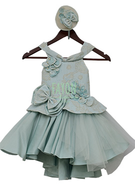 Fayon Grey Brocade Kids Gown